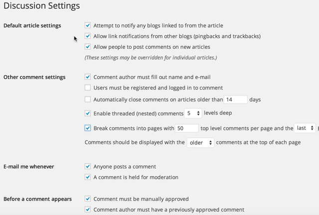 Set Discussion And Comment Settings